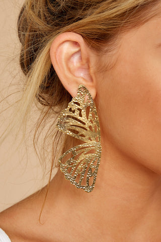 Butterfly To Me Gold Earrings