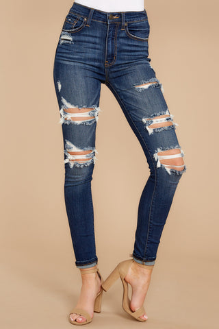 Your Every Whim Dark Wash Distressed Skinny Jeans