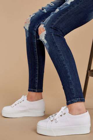 2790 Acot White And Gold Platform Sneakers