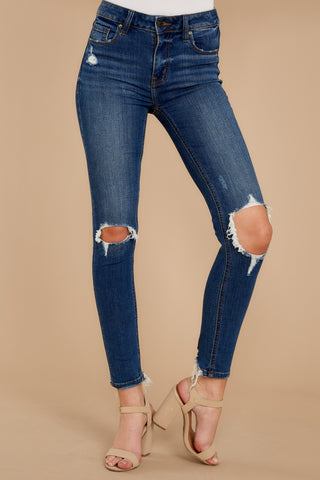 You Could Be Famous Dark Wash Distressed Skinny Jeans