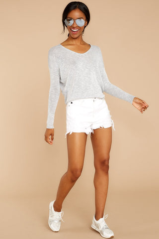 A Night In Light Grey Knit Top