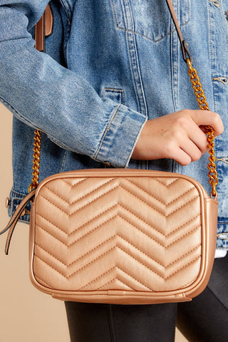 Come and Get It Rose Gold Crossbody Purse