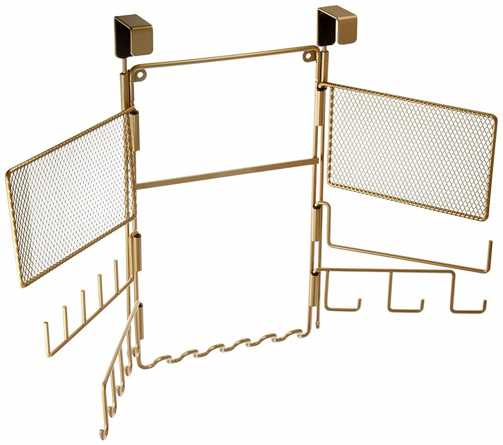 Inter Design Over Door Accessory Organizer for Jewelry and More, Pearl Brass
