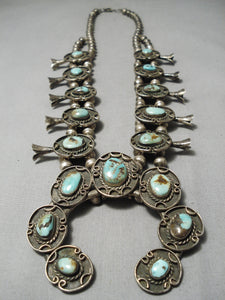Fine Vintage Native American Navajo Royston Turquoise Sterling Silver Squqash Blossom Necklace