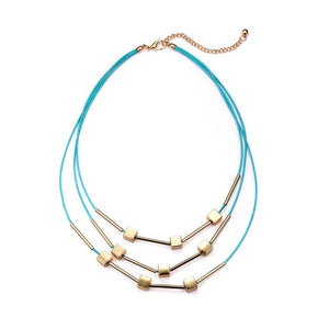Luxe Blue Gold Layered Necklace