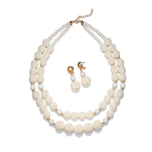 Luxe Woven Pearl Beads Necklace Set