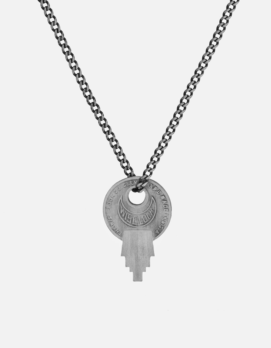 Wise Lock Necklace, Matte Silver