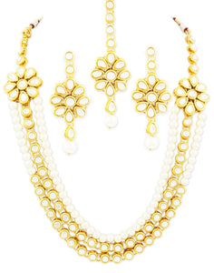 Karatcart 22K GoldPlated Kundan Layered White Pearl Ethnic Necklace set For Women