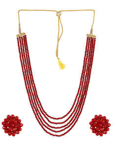 Red Crystal Beads Multi-Strand Necklace Set