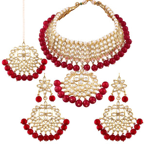 Karatcart 22K GoldPlated Partywear Traditional Kundan Pearl Bridal Red Choker Jewellery Set for Women
