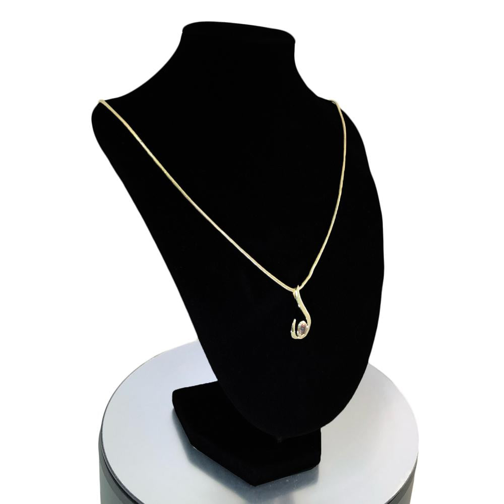 Lady's Stylish Excellent Cut Tourmaline Stone 14 Solid Gold Necklace With Natural Mined Gemstone