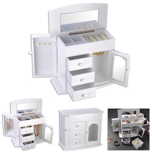 Wooden Jewelry Box Built-in Mirror Storage Case White