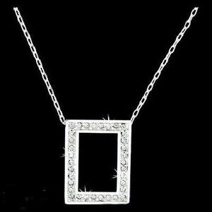 "Pewter Window to Eternity CZ Pendant on 18"" Chain"