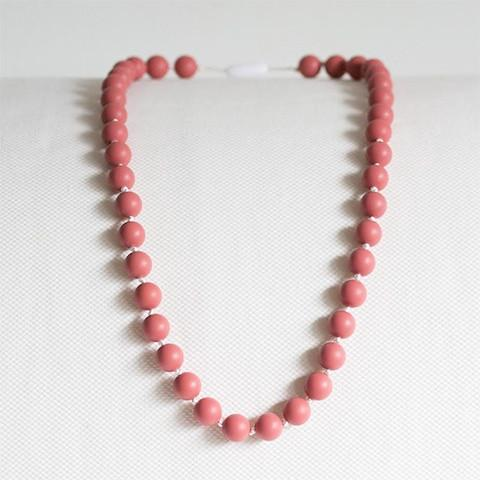 Peachtree Teething Necklace Long Pearls Rose