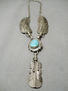 Detailed!! Vintage Native American Navajo Sterling Silver Feather Turquoise Necklace