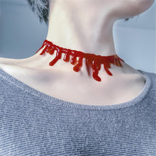 Load image into Gallery viewer, Halloween Horror Blood Drip Necklace Fake Blood Vampire Fancy Joker Choker Costume Red Necklaces