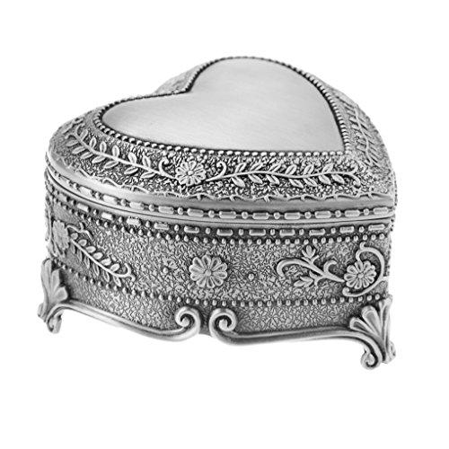 Vintage Antique Silver Tinket Box Heart Shape Tin Engraved Jewelry Box Classic  Home Accent