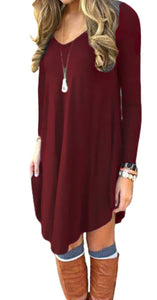 DEARCASE Women's Irregular Hem Long Sleeve Casual T Shirt Flowy Short Dress Wine Red XL