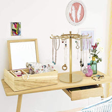 Load image into Gallery viewer, Discover the best metal jewelry display stand gold rotatable table top jewelry display holder necklaces bracelets earrings ring hanging jewelry organizer gold