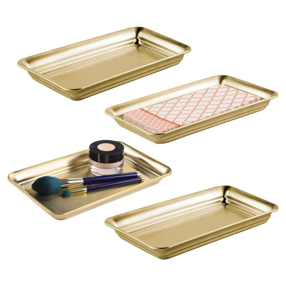 mDesign Metal Storage Organizer Tray for Bathroom Vanity Countertops, Closets, Dressers - Holder for Watches, Earrings, Makeup Brushes, Reading Glasses, Perfume, Guest Hand Towels, 4 Pack - Soft Brass