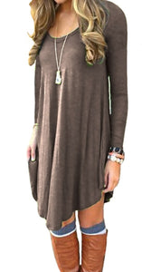 DEARCASE Women's Long Sleeve Casual Loose T-Shirt Dress Brown XL