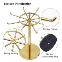 Load image into Gallery viewer, Exclusive metal jewelry display stand gold rotatable table top jewelry display holder necklaces bracelets earrings ring hanging jewelry organizer gold