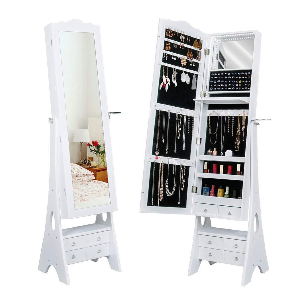 Yokstore Jewelry Cabinet Organizer LED Mirrored Jewelry Storage Armoire with Full Length Standing Large Capacity Makeup Dressing Mirror Wardrobe for Bedroom,White