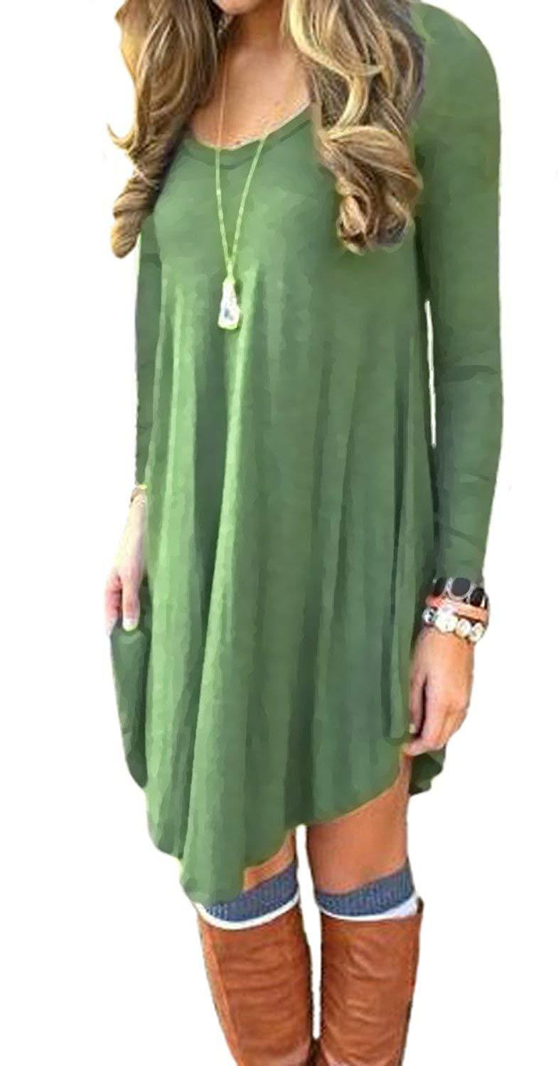 DEARCASE Women's Loose Long Sleeve Stretch Solid A-Line Short Dresses Army Green L