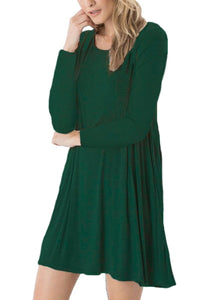 DEARCASE Women's Long Sleeve Casual Loose T-Shirt Dress Dark Green M