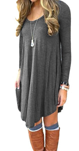 DEARCASE Women's Long Sleeve Casual Loose T-Shirt Dress Grey M