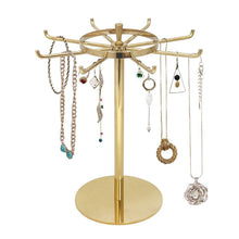 Load image into Gallery viewer, Discover the metal jewelry display stand gold rotatable table top jewelry display holder necklaces bracelets earrings ring hanging jewelry organizer gold