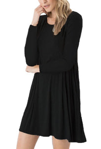 DEARCASE Women's Long Sleeve Casual Loose T-Shirt Dress Black S