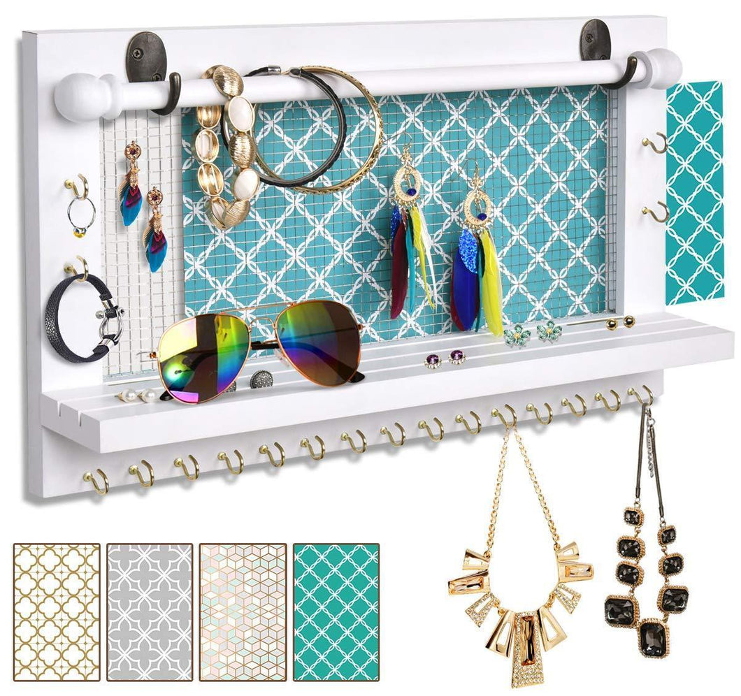 Best seller  viefin white wall mounted mesh jewelry organizer wooden earring bracelet holder with shelf hanging hooks for necklace chic wall decorwhite improved