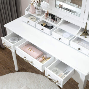 Purchase honbay vanity set tri folding necklace hooked mirror 7 large drawers free organizer 2 makeup brush holders makeup dressing table with cushioned stool for women girls white