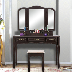YOUKE Vanity Set, Tri-Folding Necklace Hooked Mirror, 7 Drawers, Makeup Dressing Table with Cushioned Stool Easy Assemble(Brown)