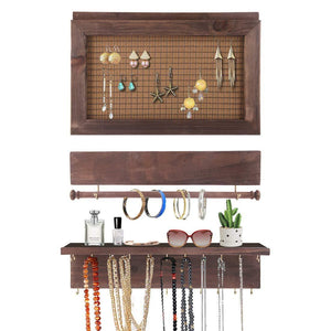 Surophy Rustic Brown Wall Mount Jewelry Organizer, Wall Hanging Jewelry Display with Removable Bracelet Rod from Wooden Wall-Mounted Mesh Jewelry Organizer Wooden Earring Bracelet Holder for Necklace