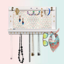 Load image into Gallery viewer, Cheap viefin white wall mounted mesh jewelry organizer wooden earring bracelet holder with shelf hanging hooks for necklace chic wall decorwhite improved