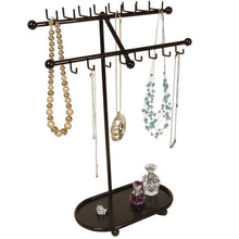 Load image into Gallery viewer, Heavy duty designers impressions jr21 orb oil rubbed bronze tree organizer free standing necklace holder jewelry display rack with tray