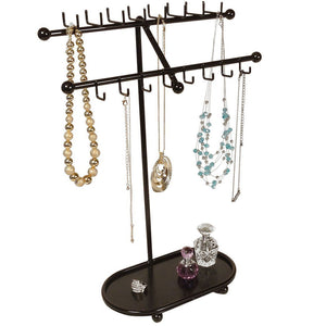Heavy duty designers impressions jr21 orb oil rubbed bronze tree organizer free standing necklace holder jewelry display rack with tray