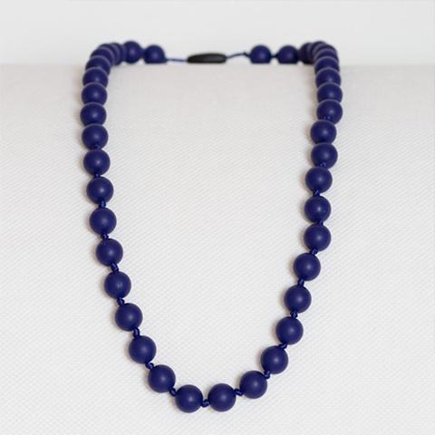 Peachtree Teething Necklace Long Pearls Midnight Blue
