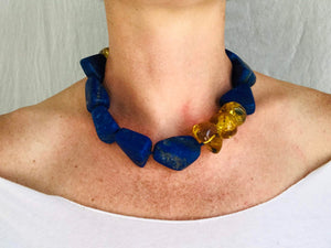 Lapis and Amber Beaded Necklace. Mexican Amber. Chunky