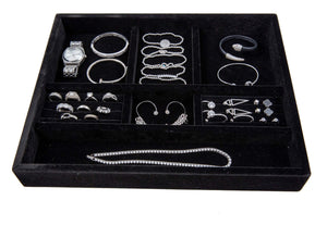 "Jewelry Tray Drawer Insert, Jewelry Organizer, Velvet and Wood Tray for Jewelry, Bracelets, Earrings, Necklaces, Rings, Durable and Stackable, Handmade in USA, 7 Compartments, Black 15""x12""x2 (black)"
