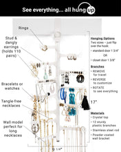 Load image into Gallery viewer, Best seller  all hung up 12 tier extra capacity over the door or wall mounted jewelry organizer display everything save space long necklaces earrings 110 pairs rings bracelets white