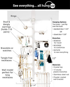 Best seller  all hung up 12 tier extra capacity over the door or wall mounted jewelry organizer display everything save space long necklaces earrings 110 pairs rings bracelets white
