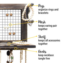Load image into Gallery viewer, Kitchen socal buttercup rustic jewelry organizer wall mount with bracelet pegs necklace holder earring hanger hanging mounted wooden shelf to display earrings necklaces and accessories from