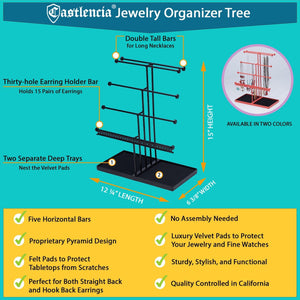 Purchase castlencia black velvet tray extra large 5 tier tabletop bracelet necklace earring display jewelry tree jewelry organizer holder