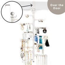 Load image into Gallery viewer, Try all hung up 12 tier extra capacity over the door or wall mounted jewelry organizer display everything save space long necklaces earrings 110 pairs rings bracelets white