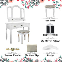 Load image into Gallery viewer, Storage organizer vanity beauty station tri folding necklace hooked mirrors 6 organization 7 drawers makeup dress table with cushioned stool and storage ottoman white