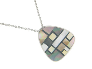 Vintage Triad Mother of Pearl Pendant Necklace in 925 Sterling Silver by  , 16""