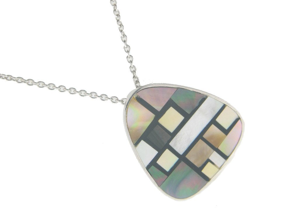 Vintage Triad Mother of Pearl Pendant Necklace in 925 Sterling Silver by  , 16